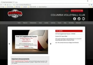 Columbia Volleyball Club - Website Management